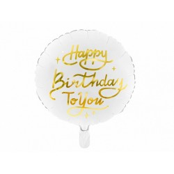 Aluminium white balloon Happy Birthday to you