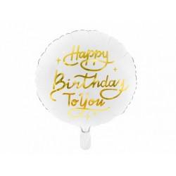 Ballon en aluminium blanc Happy Birthday to you