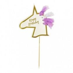 Cake Topper licorne Happy Birthday