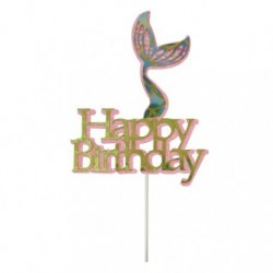 Cake Topper Mermaid tail Happy Birthday