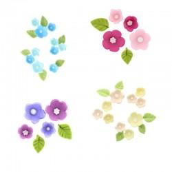 Fleurs et feuilles en sucre 4 coloris disponibles