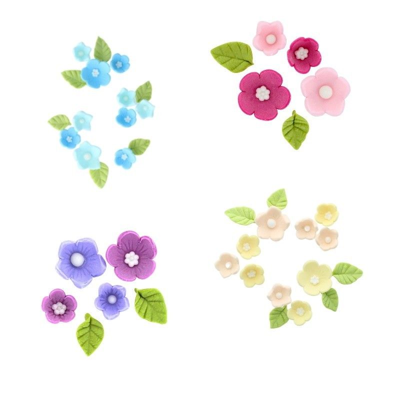 Flowers and leaves in sugar 4 colors available