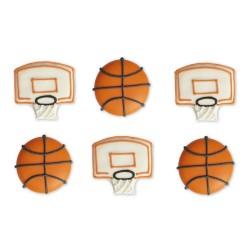 """Décos """"Ballons et paniers de basket"""" en sucre"""