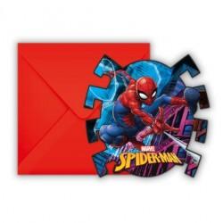 """6 cartes d'invitations """"Spiderman"""""""