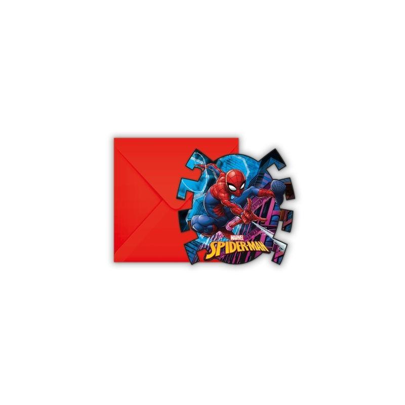 "6 invitations cards ""Spiderman"""