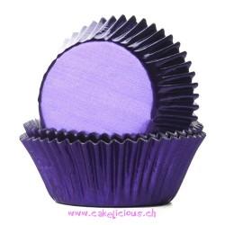 Caissettes métallisées violet - pk/24