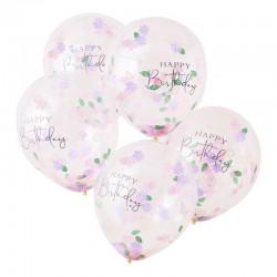 Ballons fleuris Happy birthday à confettis
