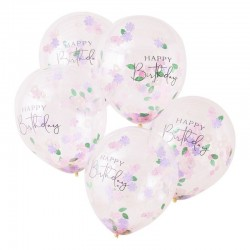 Flowered confetti balloons Happy birthday