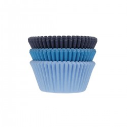 "75 Cupcakes-Förmchen ""Blaues Sortiment"" aus Papier"