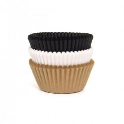 """75 Caissettes à cupcakes """"Noires-Blanches-Kraft"""" en papier"""