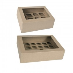 2 Boxes kraft for 12 or 24 mini cupcakes with inserts in cardboard