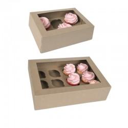Boîtes à 6 ou 12 cupcakes kraft avec inserts