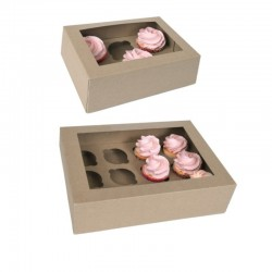 2 Boxes kraft for 6 or 12 cupcakes with inserts in cadboard
