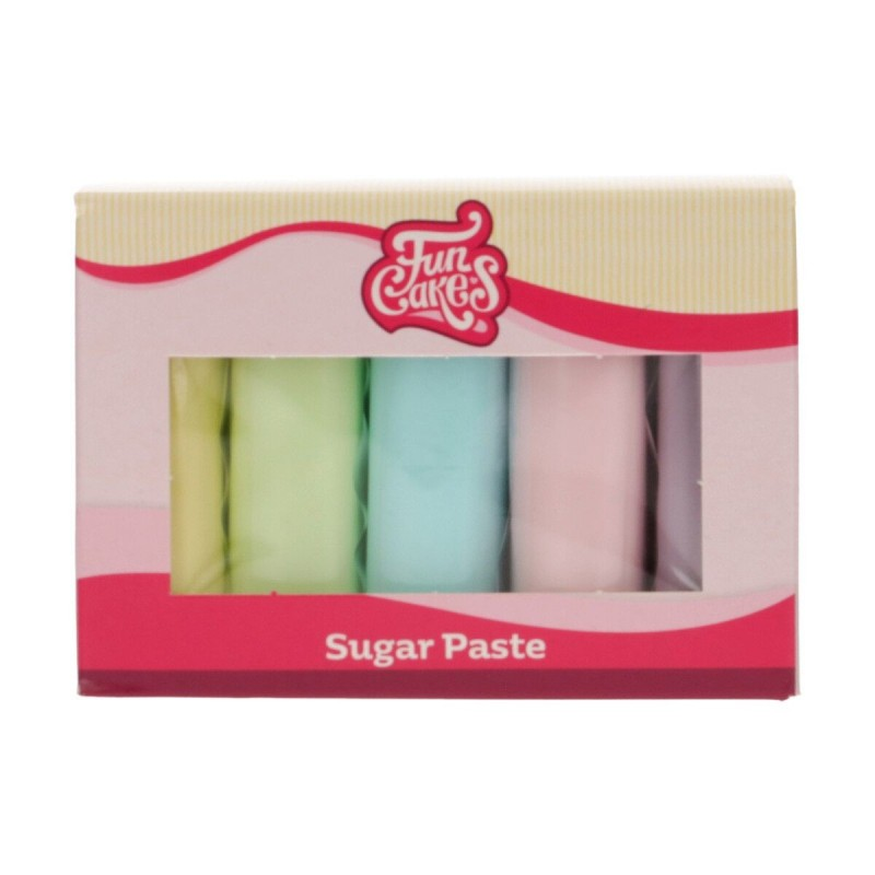Pâte a Sucre - 5 couleurs, set de pâte à sucre, pâte à sucre bleu-vert-jaune, set pâte à sucre pastel, paquet pâte à sucre paste