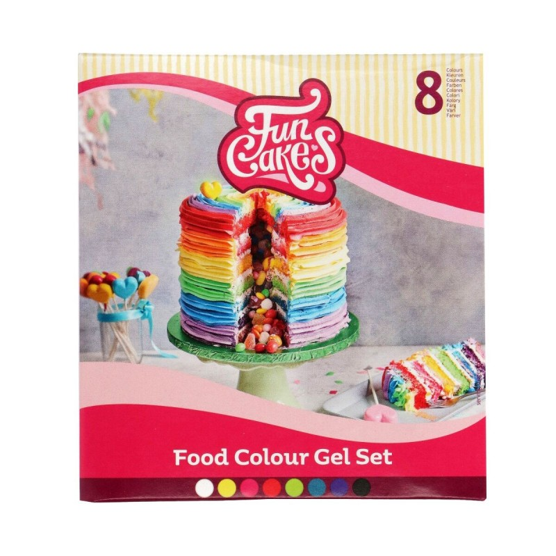 Set colorants gels Funcake, colorant alimentaire couleur, colorants alimentaire gel de couleur, colorant vert, colorant jaune, c