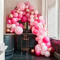Arche de ballons roses et rose gold