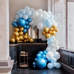 Blue and Gold Balloon Arch