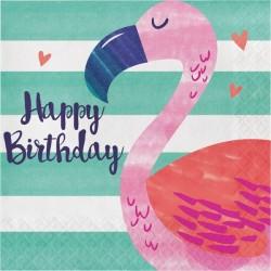 Serviettes Happy Birthday Flamant rose