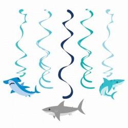5 Spiralgirlanden Hai-Fisch