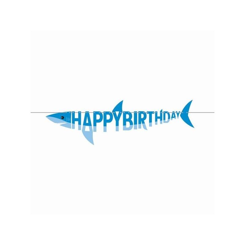 Hai-Fisch Girlande Happy Birthday