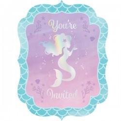 8 invitation cards Mermaid