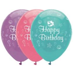 6 Ballons Happy Birthday Sirène