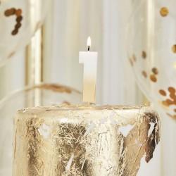 Weiß und Gold Kerze -1