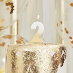 Weiß und Gold Kerze -2
