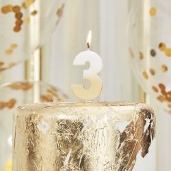 Weiß und Gold Kerze -3