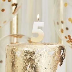 Weiß und Gold Kerze -5