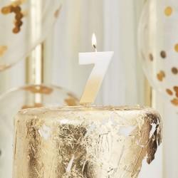 Weiß und Gold Kerze -7