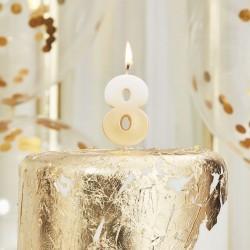 Weiß und Gold Kerze -8