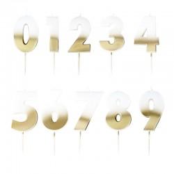 Set bougie blanche/dorée
