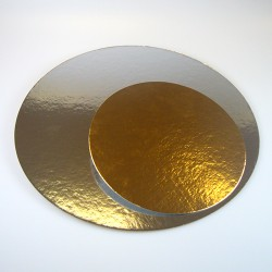 Plateau gâteau argent/or ROND 35cm - 3pcs