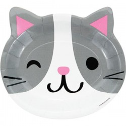 """Plates """"Cat's head"""" grey and white"""