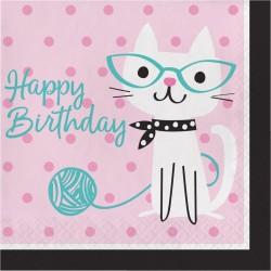 "Serviettes Happy Birthday ""Chat à lunette"""