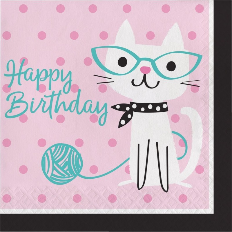 """Happy Birthday towels """"Cat with glasses"""