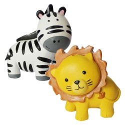 Figurine 1 lion and 1 zebra in resin