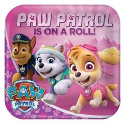 Pappteller rosa Paw Patrol