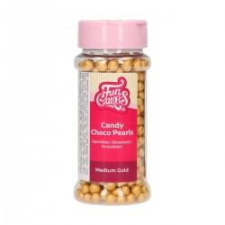 Perles Medium or en chocolat