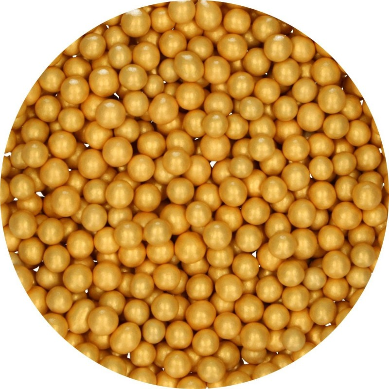 Perlen Medium Gold aus Schokolade