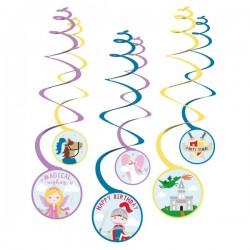 6 spirales à suspendre chevalier/princesse