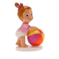 Figurine bébé fille ballon