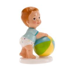 Figurine bébé garçon ballon
