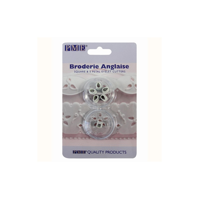 """Broderie Anglaise """"Square & 5 Petal Eyelet"""" Cutters - ACTION"""