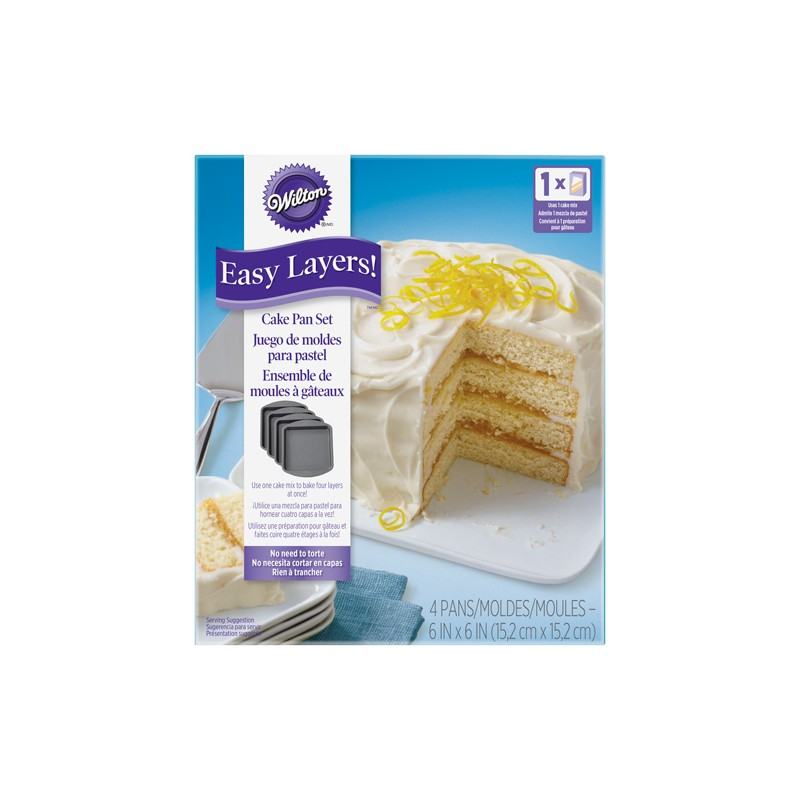 Square Cake Pan Easy Layers 15cm - Set/4