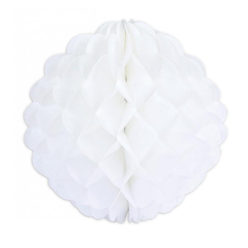 """Boule alvéolées en papier de soie """"Blanche"""" – 25cm"""
