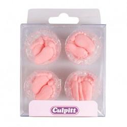Paires de Pieds en sucre roses - 24pcs