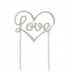 "Cake topper ""Love"" Argenté - 120mm"