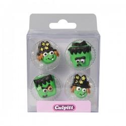 Décorations en sucre Halloween - visages monstre & sorcières - pk/12